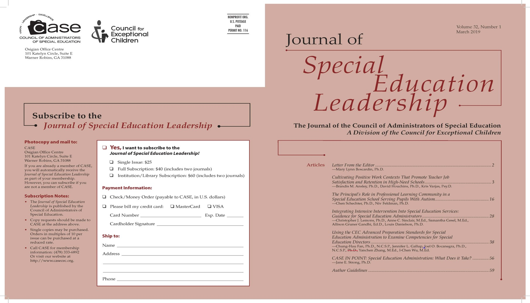 Journal of Special Education Leadership Picture